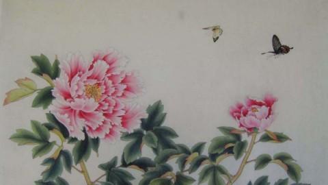 笔记-李晓明工笔画-牡丹双蝶